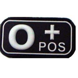 Tépőzáras PVC vércsoport felvarró - fekete/fehér 0+