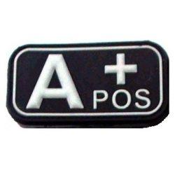 Tépőzáras PVC vércsoport felvarró - fekete/fehér A+