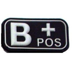 Tépőzáras PVC vércsoport felvarró - fekete/fehér B+