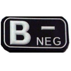 Tépőzáras PVC vércsoport felvarró - fekete/fehér B-