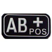 Tépőzáras PVC vércsoport felvarró - fekete/fehér AB+