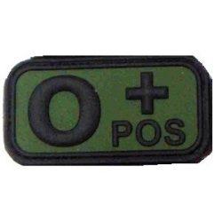 Tépőzáras PVC vércsoport felvarró - zöld/fekete 0+
