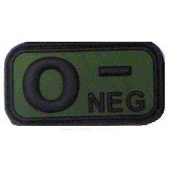 Tépőzáras PVC vércsoport felvarró - zöld/fekete 0-