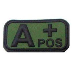 Tépőzáras PVC vércsoport felvarró - zöld/fekete A+