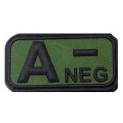 Tépőzáras PVC vércsoport felvarró - zöld/fekete A-