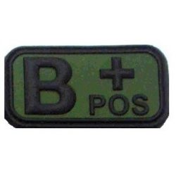 Tépőzáras PVC vércsoport felvarró - zöld/fekete B+