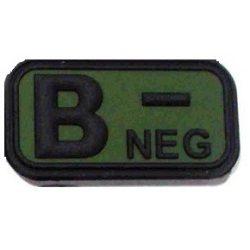 Tépőzáras PVC vércsoport felvarró - zöld/fekete B-