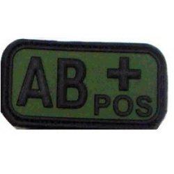 Tépőzáras PVC vércsoport felvarró - zöld/fekete AB+