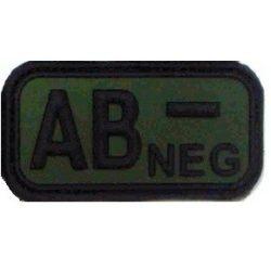 Tépőzáras PVC vércsoport felvarró - zöld/fekete AB-