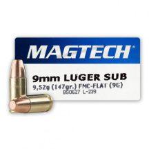 Magtech 9mm Luger 147gr FMJ Flat subsonic