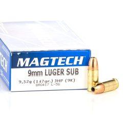 Magtech 9mm Luger 147gr JHP subsonic